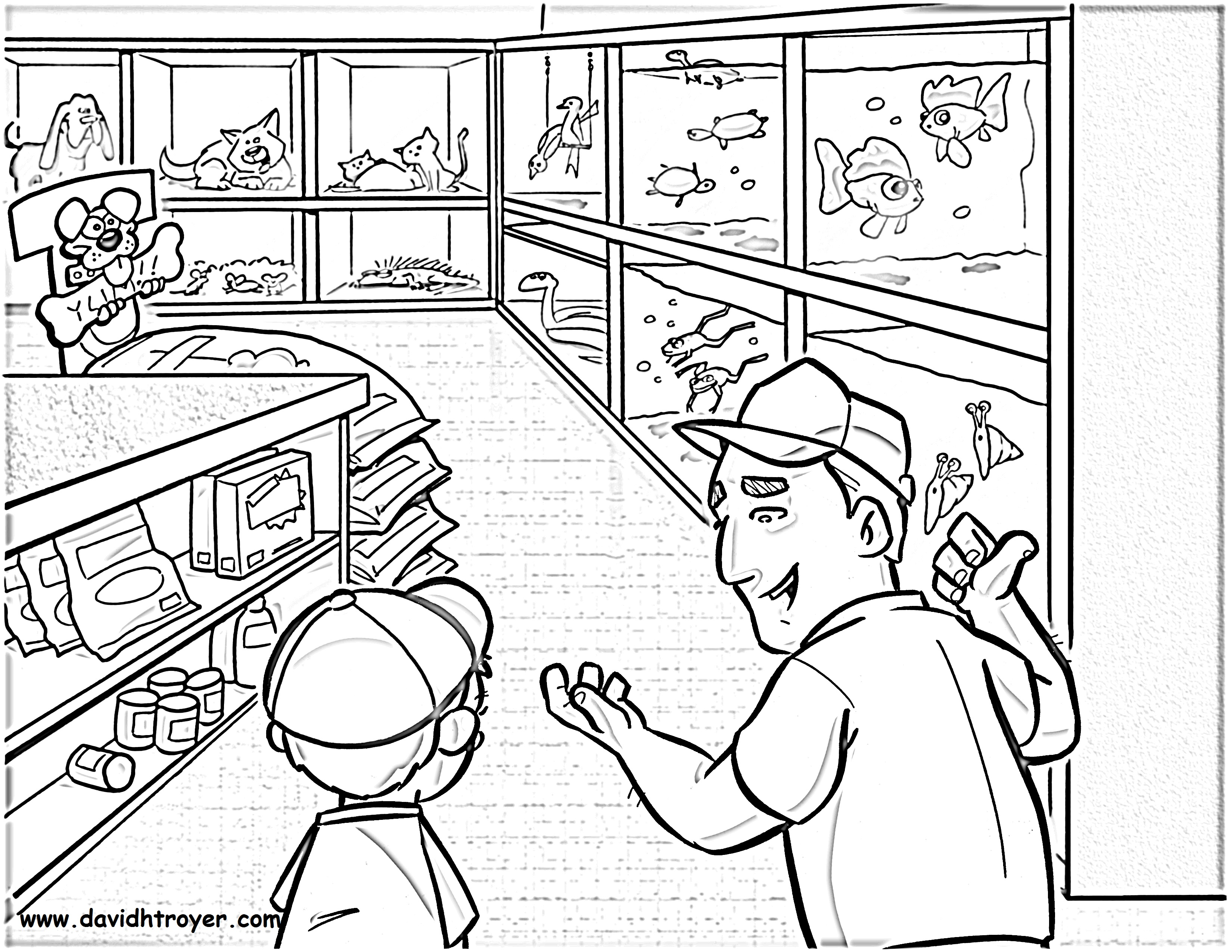 Pet Shop Coloring Page